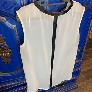 Bellatrix Sleeveless Top White Black Sheer Medium